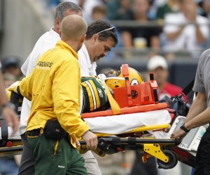 Nick Collins left the Panthers game on a stretcher after suffering a neck injury in the 4th quarter.