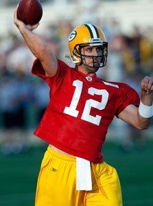 Aaron Rodgers in Packers Training Camp