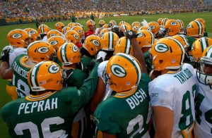 Green Bay Packers huddle