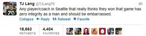 TJ Lang Tweets about Seattle Seahawks