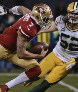 Colin Kaepernick rushed for a quarterback-record 181 yards against the Packers in the playoffs.