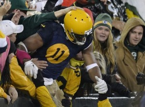 Packers receiver Jarrett Boykin enjoyed his first career Lambeau Leap following his fourth-quarter touchdown against the Browns.