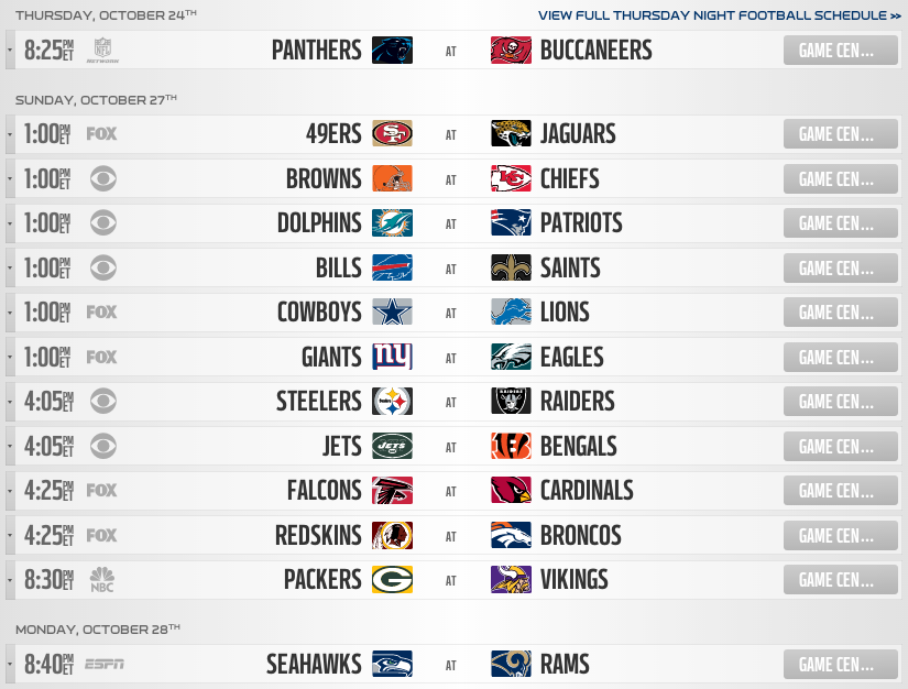 week 8 nfl schedule picks for sunday football