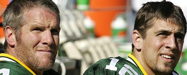 Aaron Rodgers, Brett Favre Look On